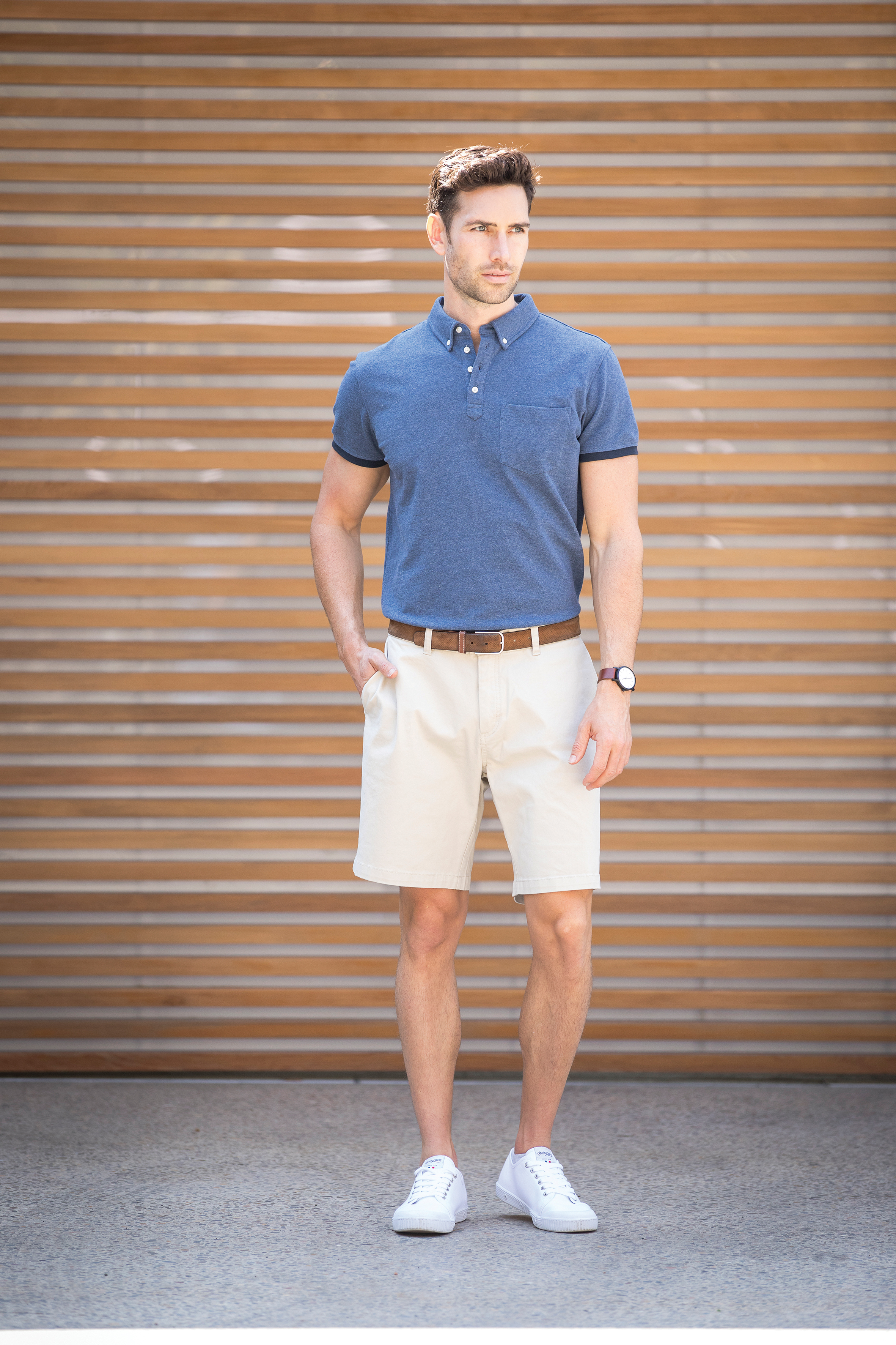 Model Wears Carson Shorts in 150 Beige and Larkford Polo