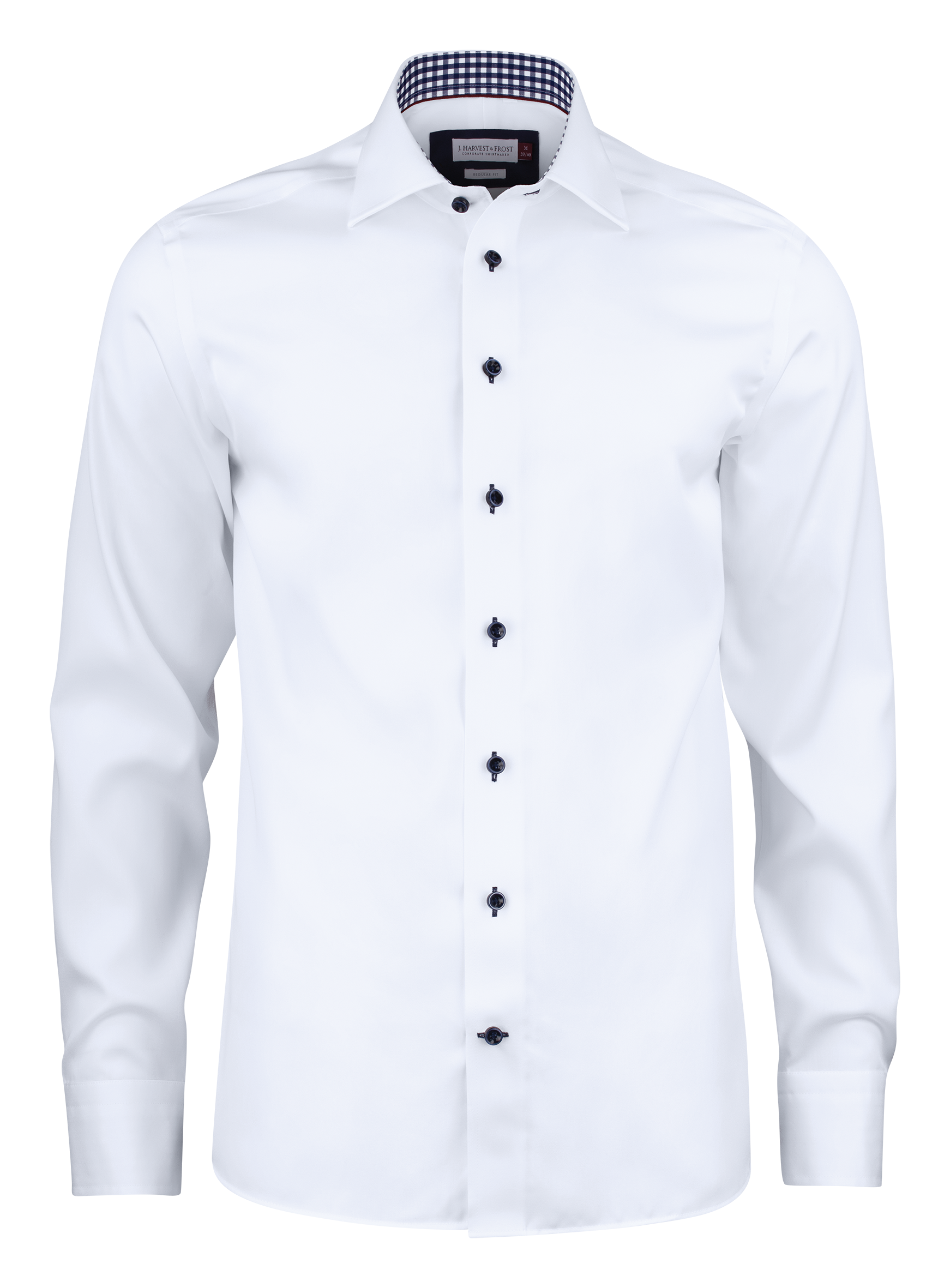 Mens' Red Bow 20 Shirt in White with Navy Contrast